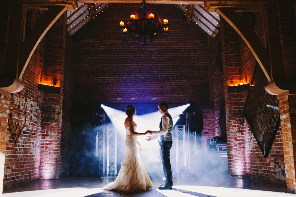Bride and Groom's first dance at Shustoke Farm Barns