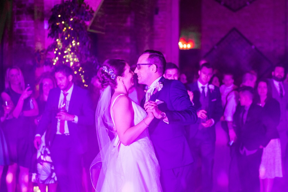 Bride and Groom dancing at Shustoke Farm Barns