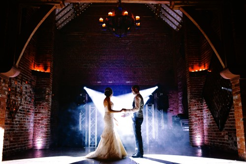 Bride and Groom getting ready for their first dance at Shustoke Farm Barns